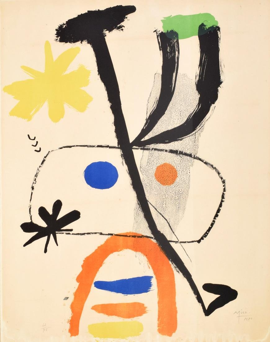 Joan Miro PERSONNAGE WITH STARS Lithograph, Signed