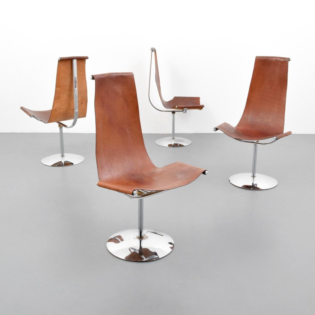 4 Leather Sling Chairs, Manner of Laverne