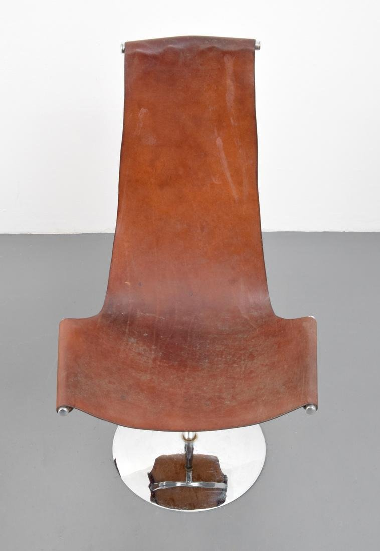 4 Leather Sling Chairs, Manner of Laverne - 3