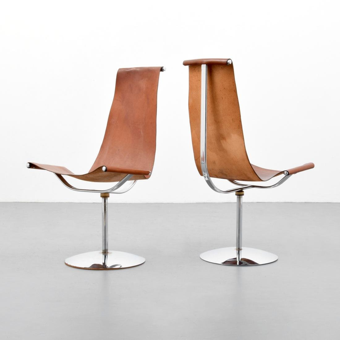 4 Leather Sling Chairs, Manner of Laverne - 8