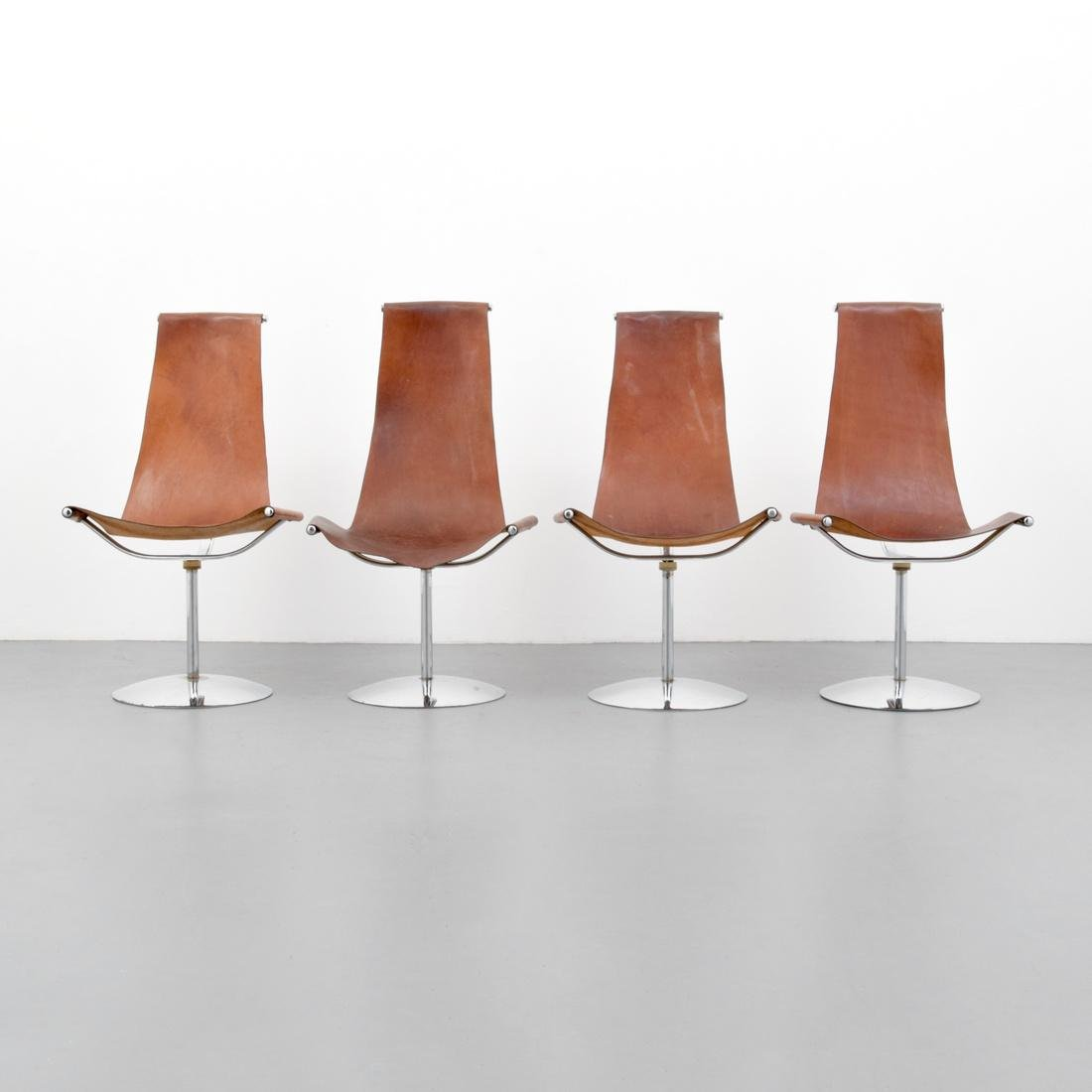 4 Leather Sling Chairs, Manner of Laverne - 9