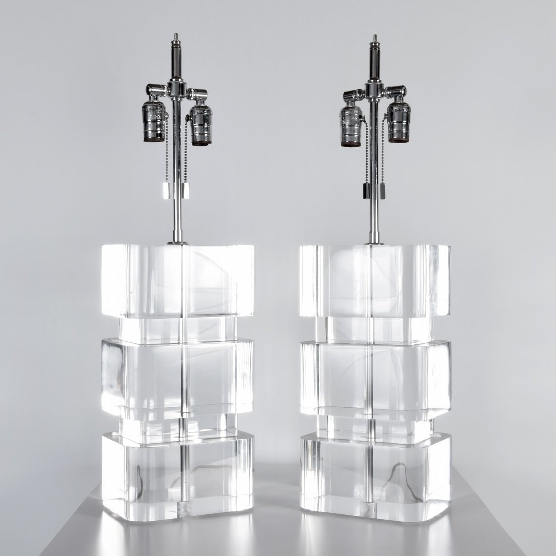 Pair of Karl Springer Lucite Lamps