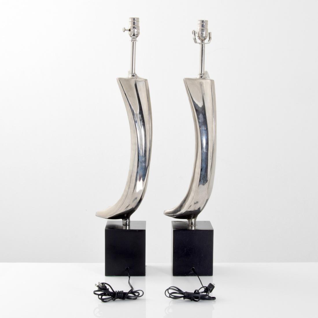 Pair of Maurizio Tempestini Brushstroke Form Lamps - 3