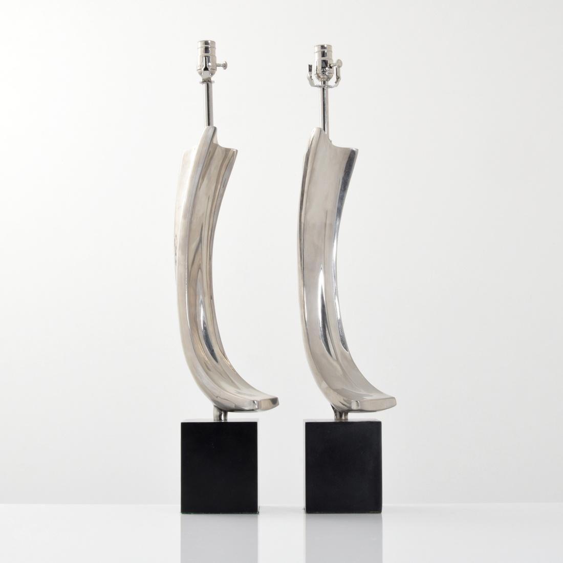 Pair of Maurizio Tempestini Brushstroke Form Lamps - 6