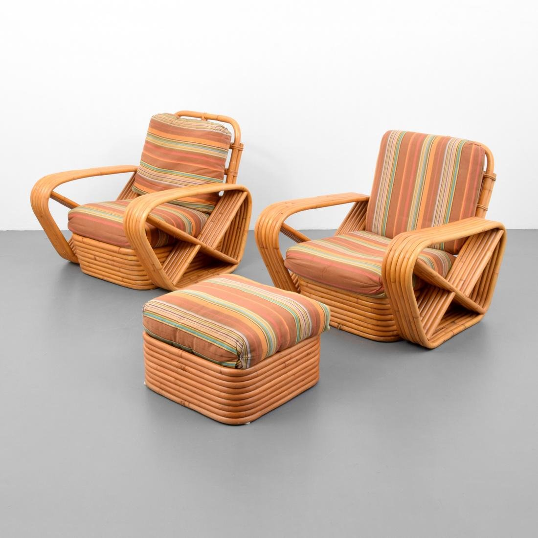 Rattan Lounge Chairs & Ottoman, Manner of Paul Frankl