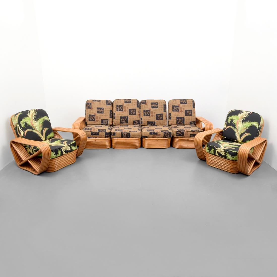 Rattan Sofa & 2 Lounge Chairs, Manner of Paul Frankl