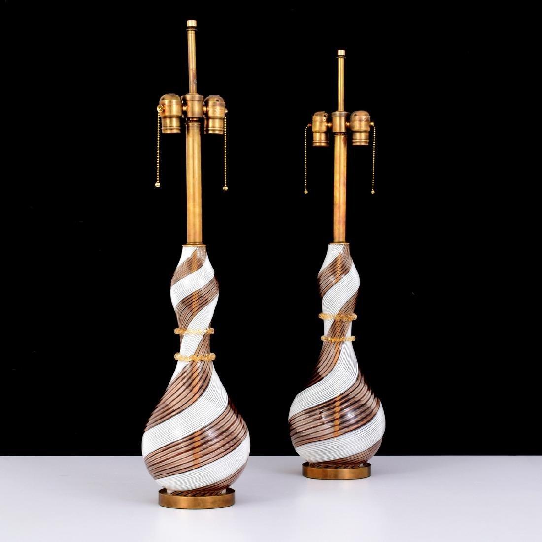 Pair of Dino Martens MEZZA FILIGRANA Lamps, Murano