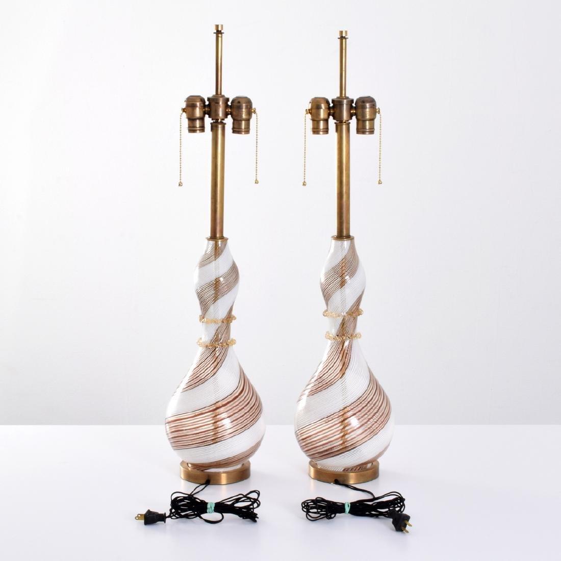 Pair of Dino Martens MEZZA FILIGRANA Lamps, Murano - 4