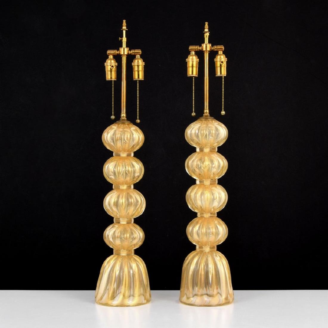 Pair of Large Murano Lamps, Manner of Barovier & Toso
