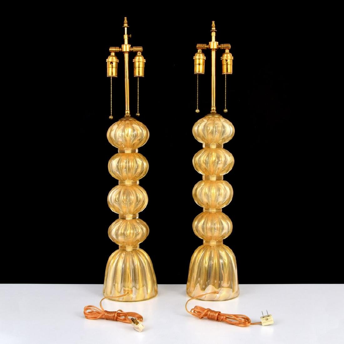 Pair of Large Murano Lamps, Manner of Barovier & Toso - 3