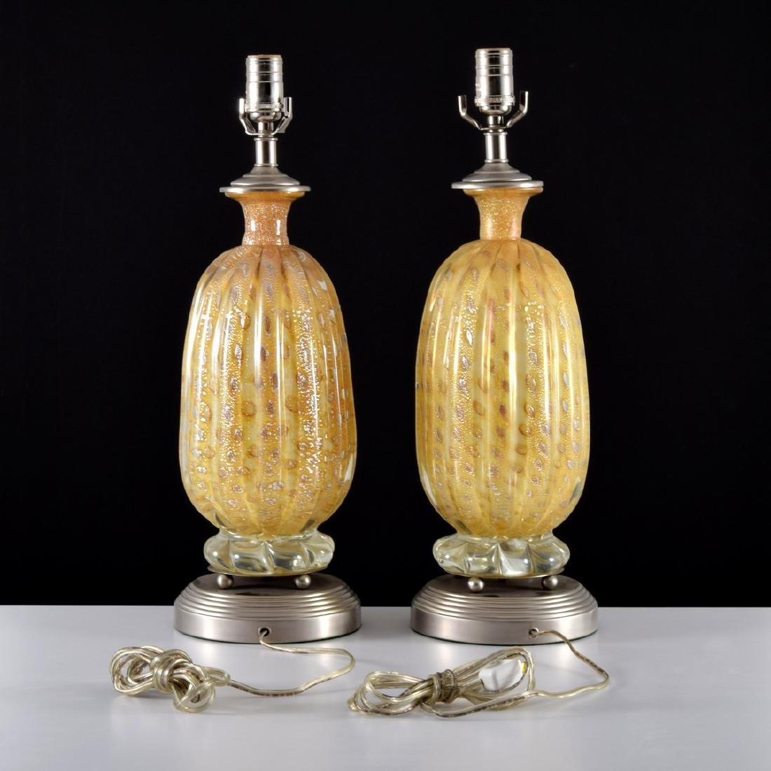 Pair of Murano Lamps, Manner of Barovier & Toso - 5