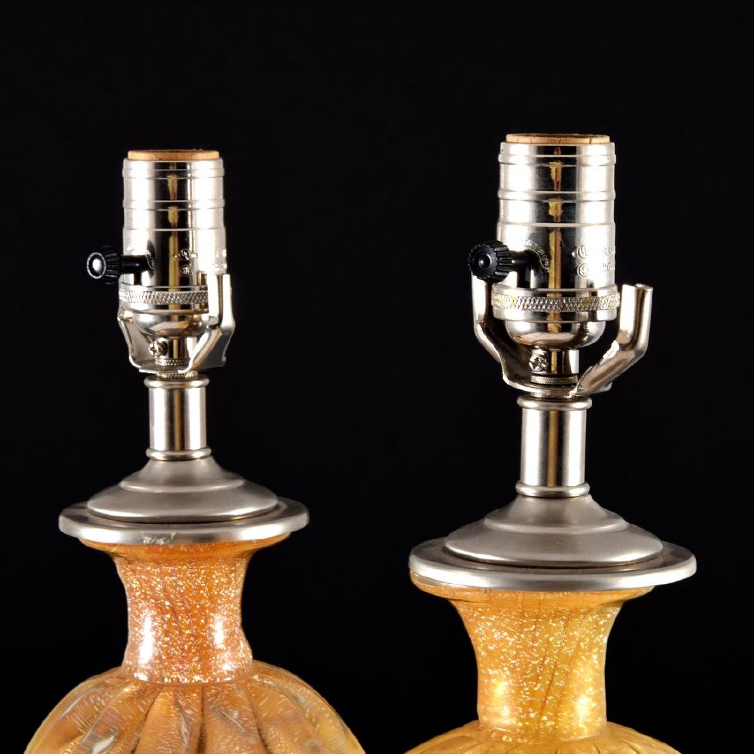 Pair of Murano Lamps, Manner of Barovier & Toso - 7