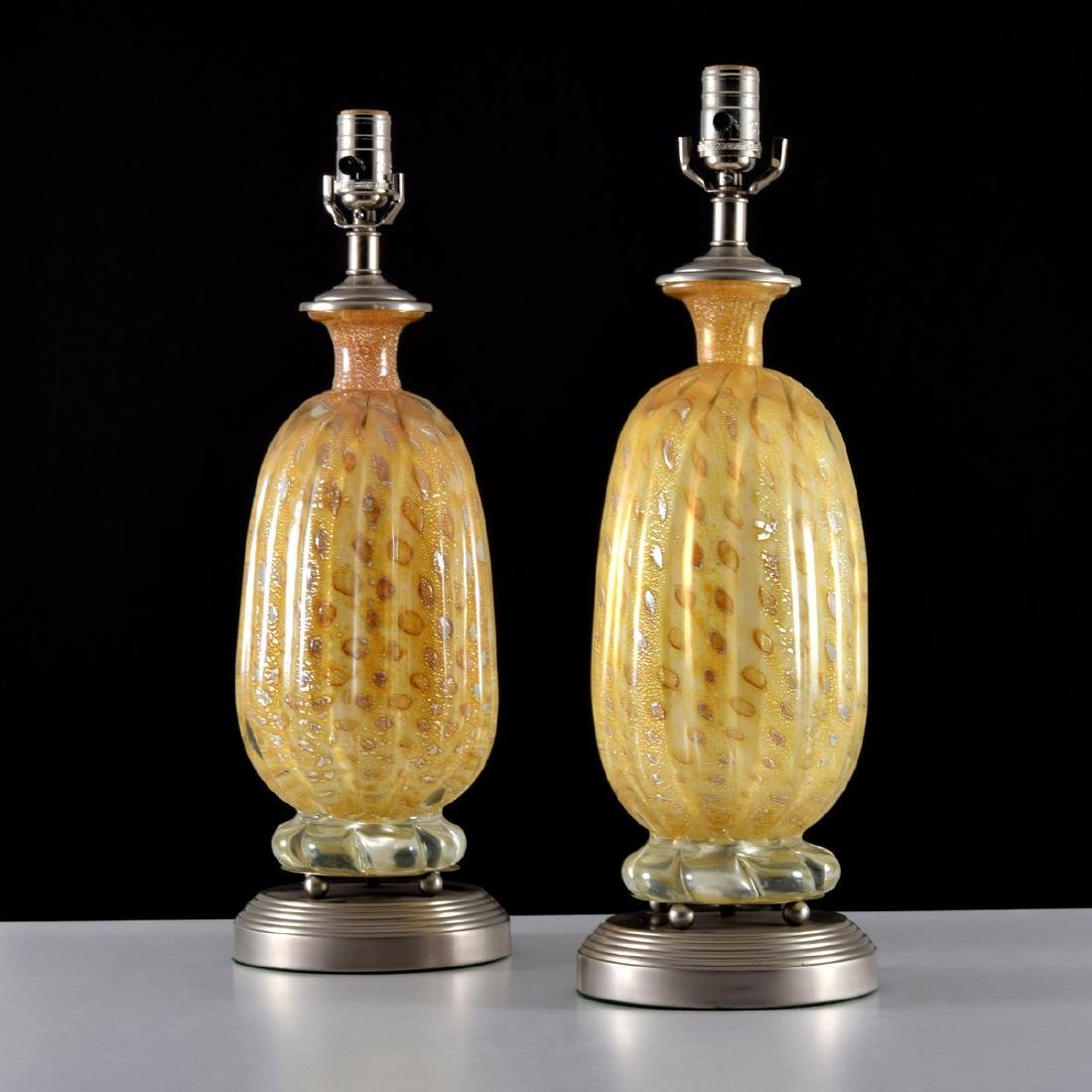 Pair of Murano Lamps, Manner of Barovier & Toso - 9