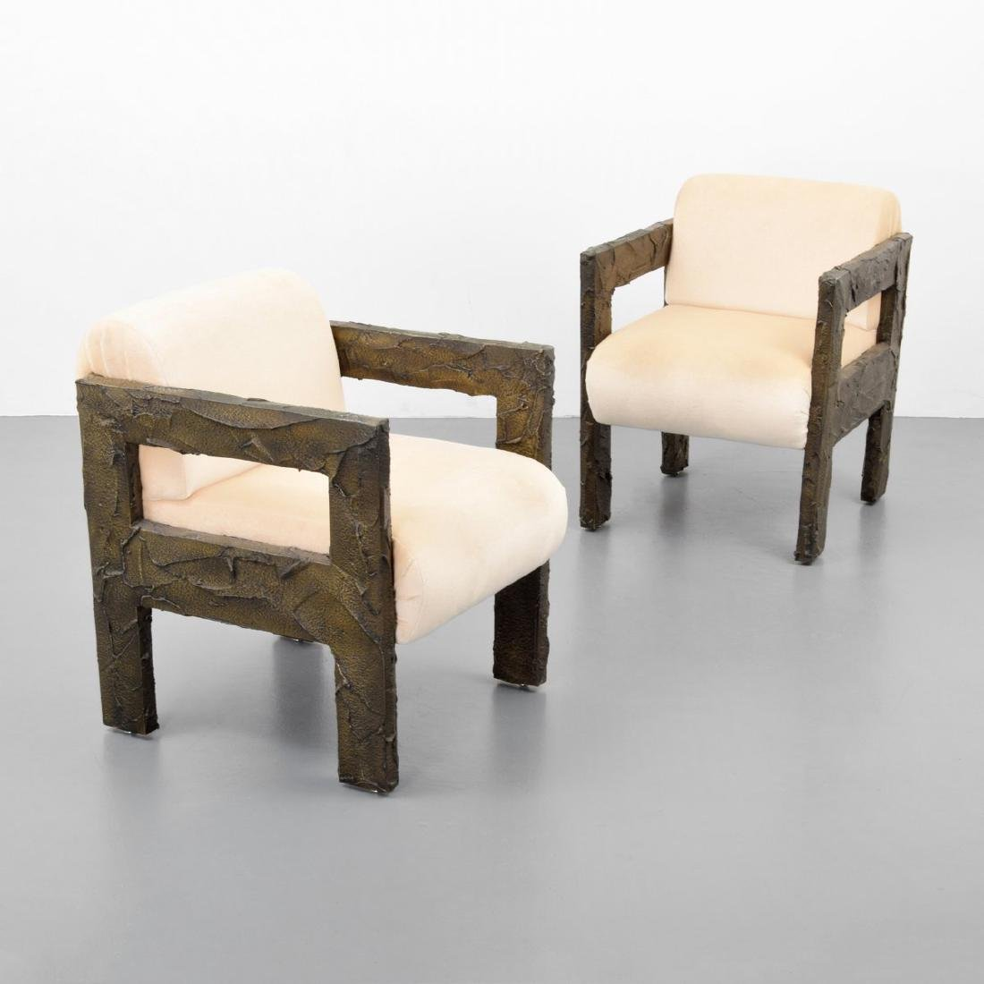 Pair of Paul Evans SCULPTED BRONZE Lounge Chairs
