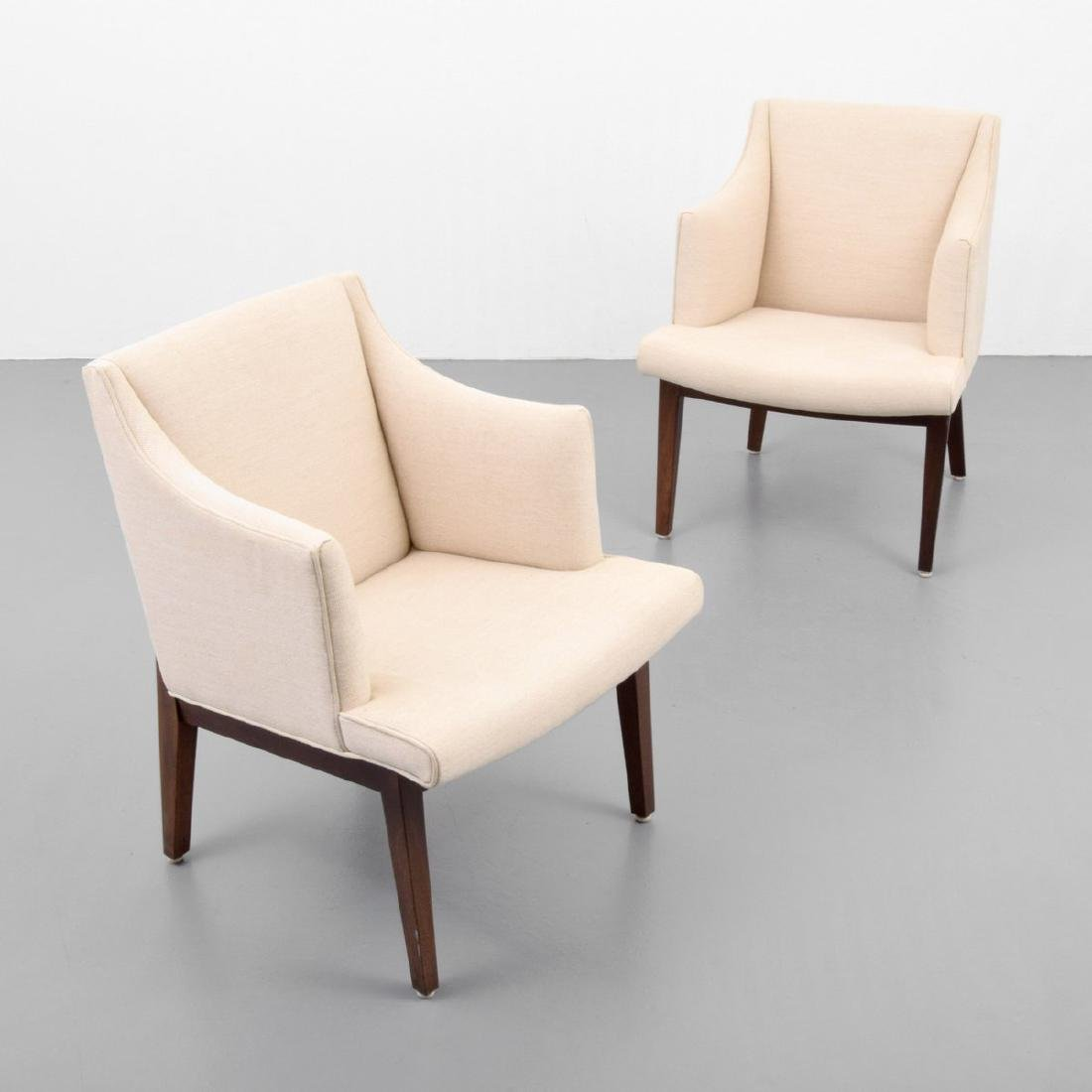 Pair of Edward Wormley BRACKET BACK Arm Chairs
