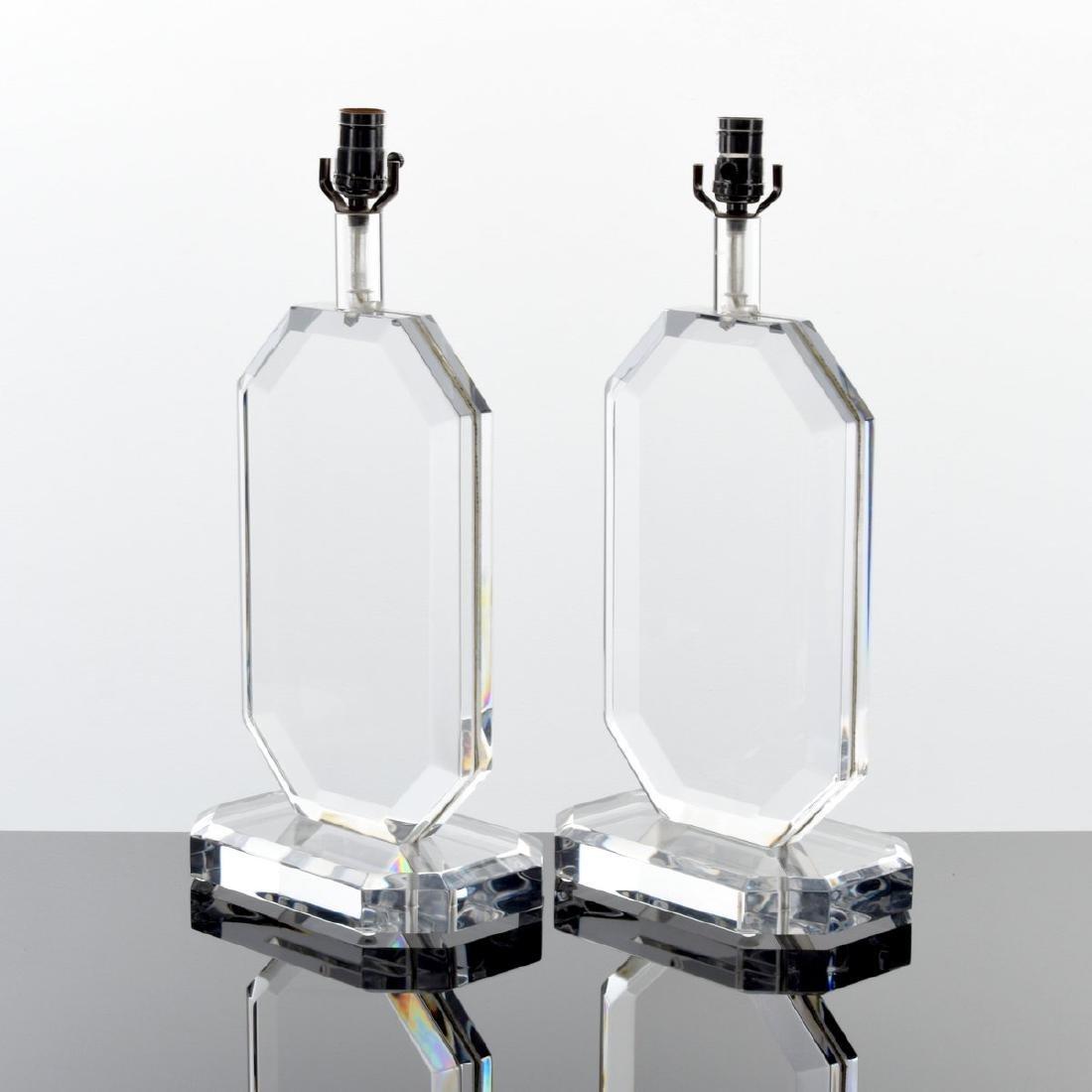 Pair of Lucite Lamps, Manner of Karl Springer