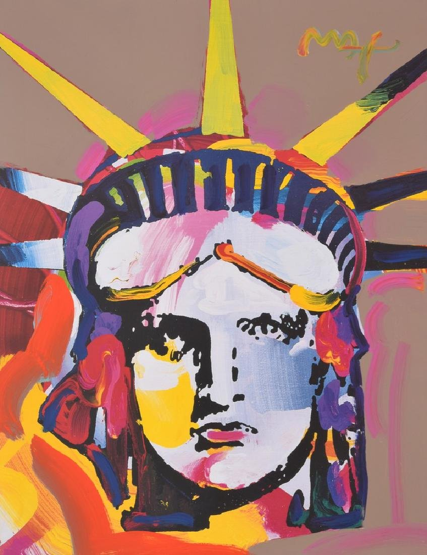 "Peter Max ""Statue of Liberty"" Mixed Media"