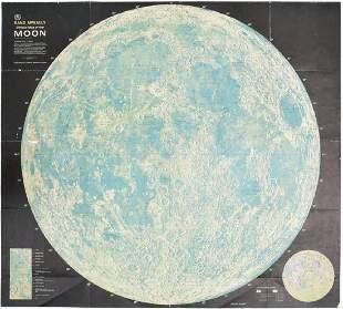 NASA Moon Map, Apollo 8 Crew/Astronauts Signed