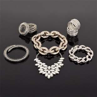 8 Pieces of Large SilverTone Fashion Runway Jewelry