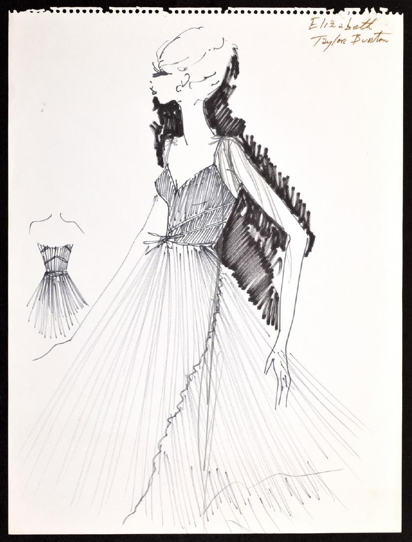 Large Karl Lagerfeld Fashion Drawing, Elizabeth Taylor