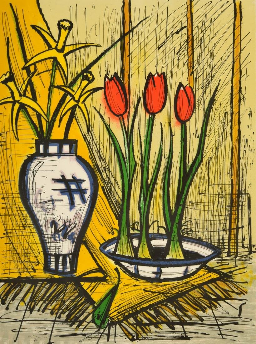 Bernard Buffet Floral Still Life Print, Signed Edition
