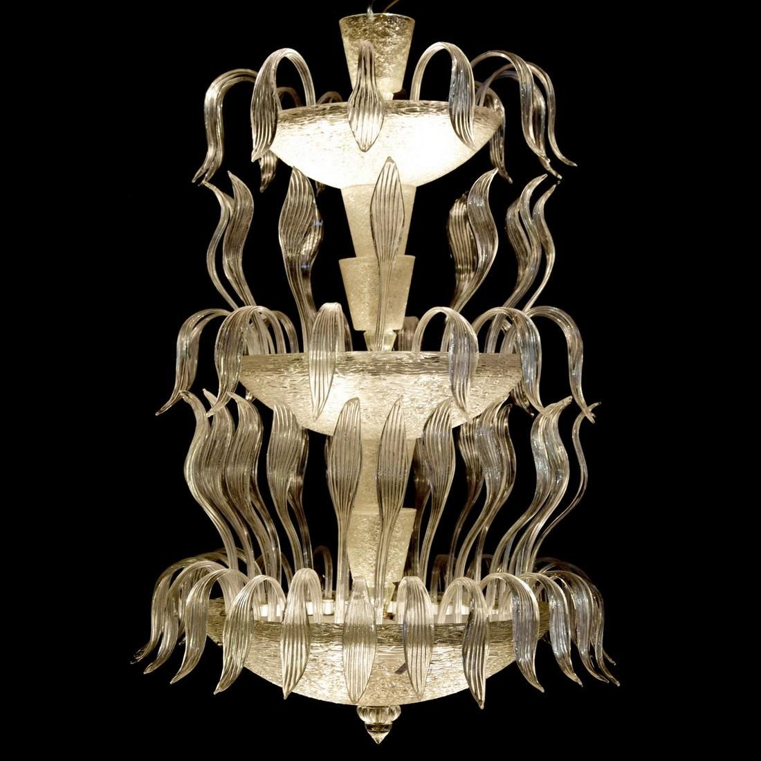 Monumental Tiered Chandelier, Manner of Barovier & Toso