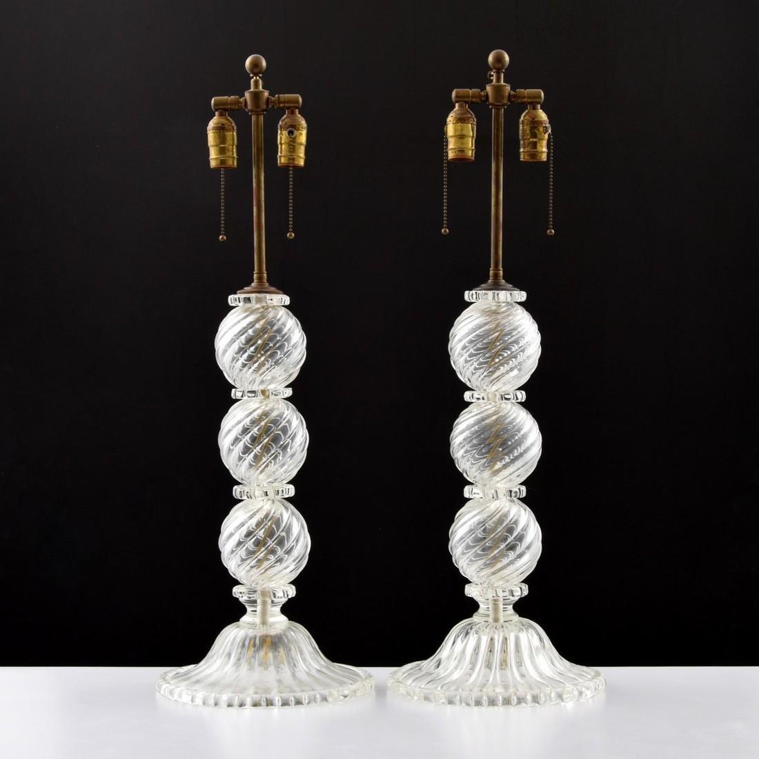 Pair of Murano Table Lamps, Manner of Venini