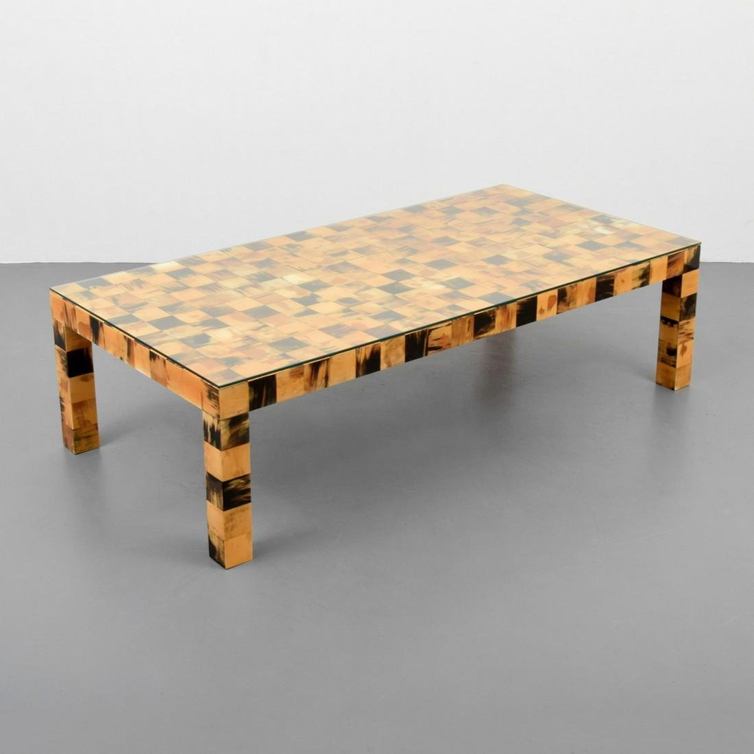Tessellated Horn Coffee Table, Manner of Karl Springer