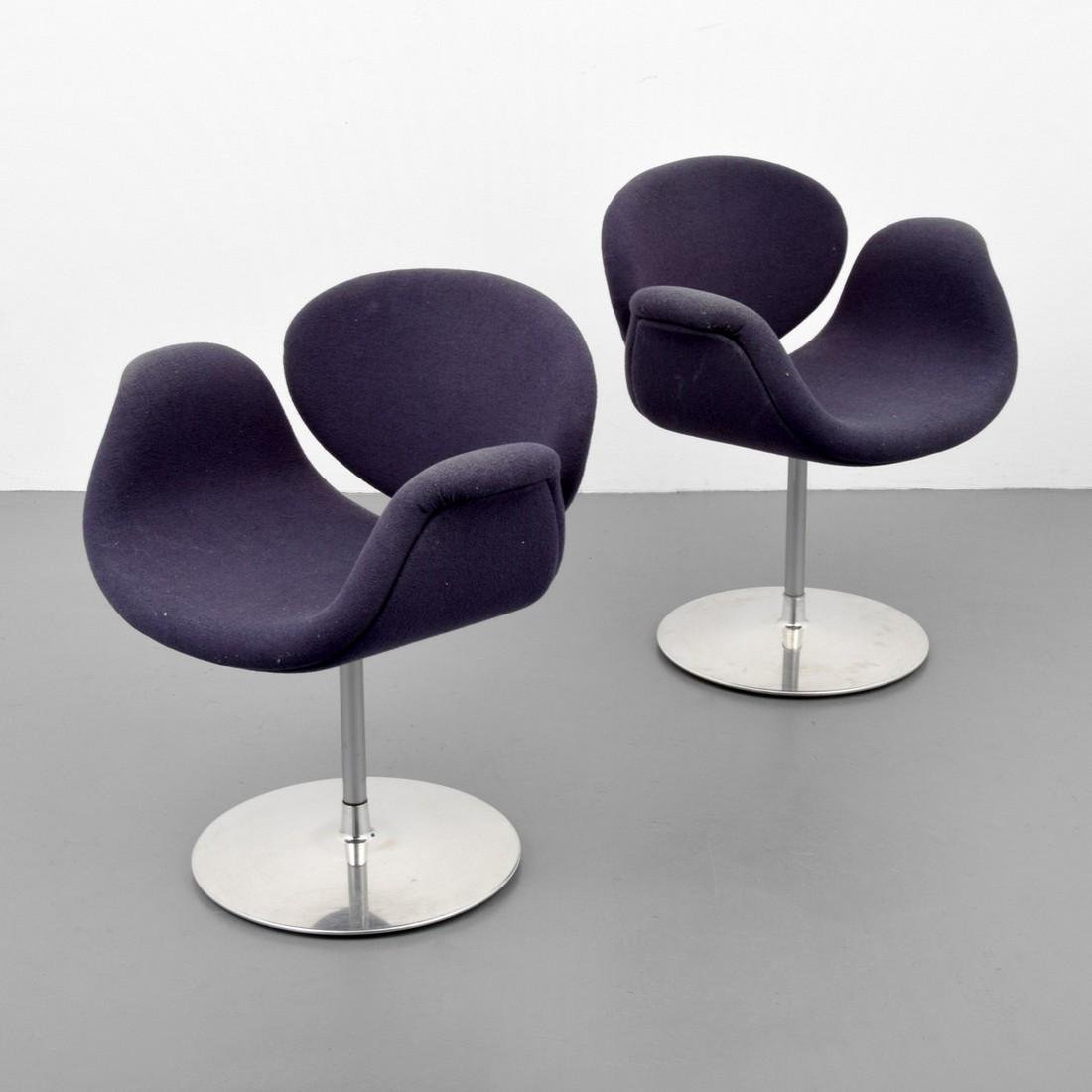 "Pair of Pierre Paulin ""Little Tulip"" Swivel Arm Chairs"