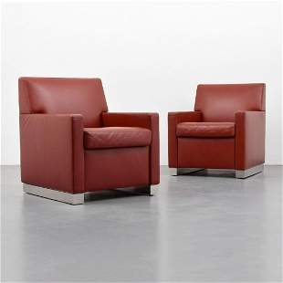 Pair of Leather Club Chairs Attributed to Antonio