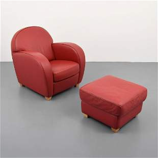 Natuzzi Leather Lounge Chair & Ottoman