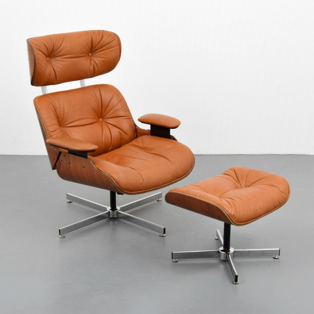Selig Lounge Chair & Ottoman, Manner of Charles & Ray