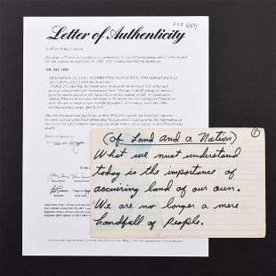 Vintage Muhammad Ali Handwritten Speech Card LOA