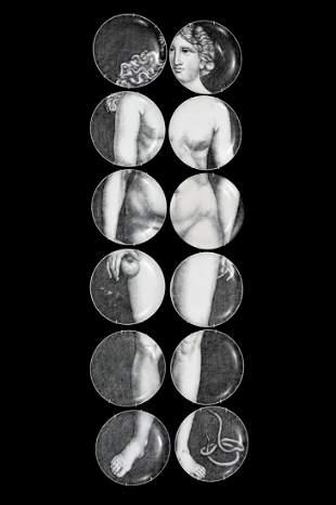 "Piero Fornasetti ""Eve"" Plates, Set of 12"
