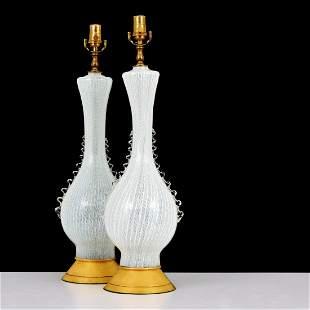 Pair of Murano Latticino Lamps, Manner of Dino Martens