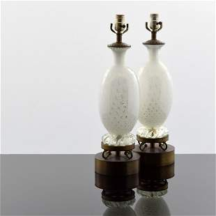 Pair of Murano Lamps, Manner of Barovier & Toso