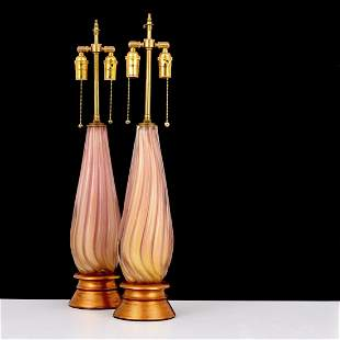 Pair of Murano Lamps, Manner of Archimede Seguso