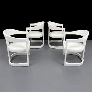 """Karl Springer """"Onassis"""" Armed Dining Chairs, Set of 4"""