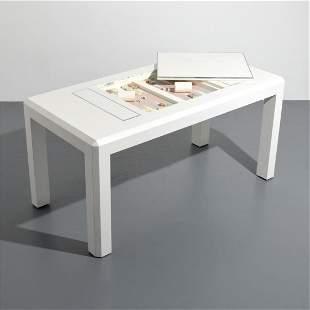 Rare Karl Springer Embossed Leather Game Table