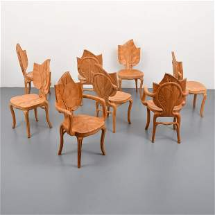 Bartolozzi & Maioli Carved Wood Leaf Chairs, Set of 8