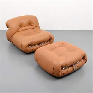 "Afra & Tobia Scarpa ""Soriana"" Lounge Chair & Ottoman"
