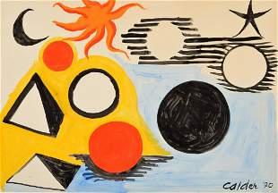 Large Alexander Calder Gouache Painting
