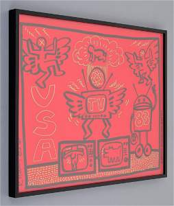 Lg Keith Haring Acrylic/Gold Paint Marker on Red Plexi