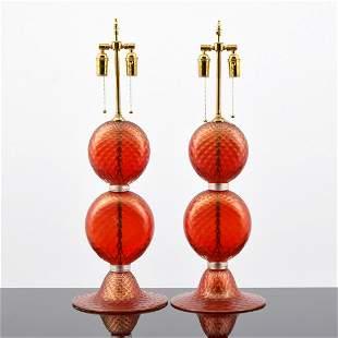 Pair of Large Alberto Dona Lamps, Murano