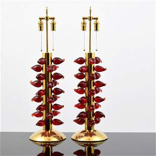 Pair of Murano Flame Lamps, Signed