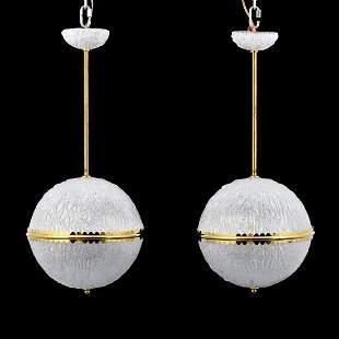 Pair of Sphere Chandeliers, Manner of Barovier & Toso,