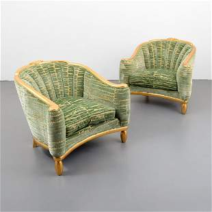 Pair of Andre Groult Gold Leaf Bergeres, Selected by