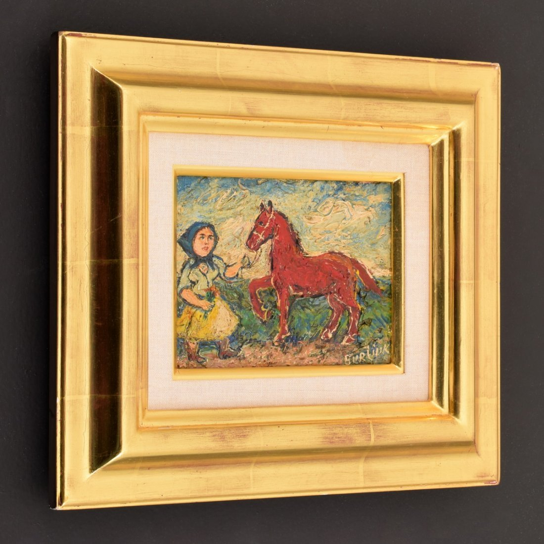 David Burliuk Painting, Peasant Woman and Horse