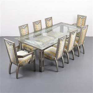 James Mont Dining Table & 8 Chairs