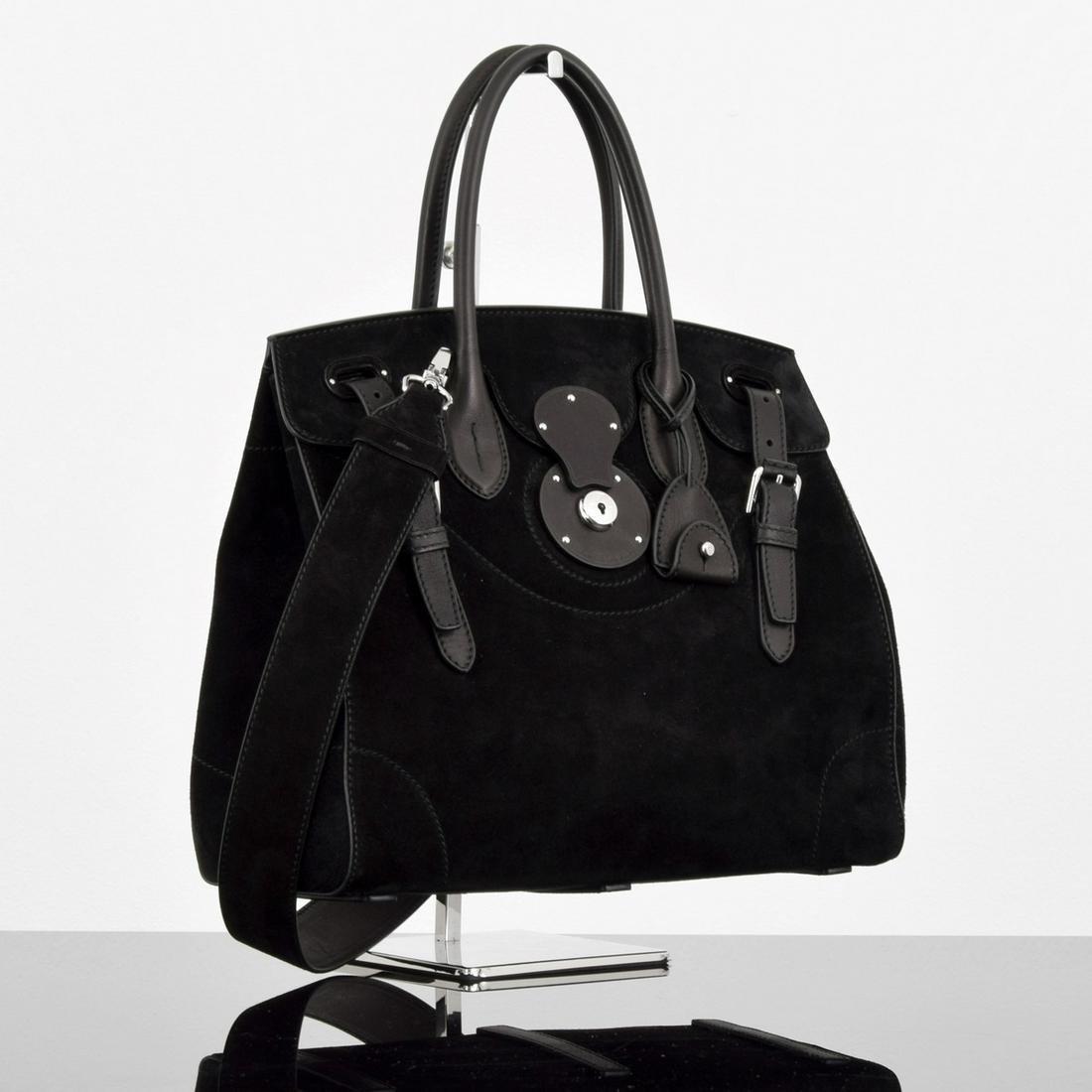 Ralph Lauren Light Ricky Bag, Black Suede
